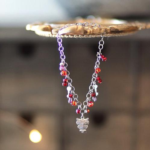 Bracelet hiboux et clefs / rouge