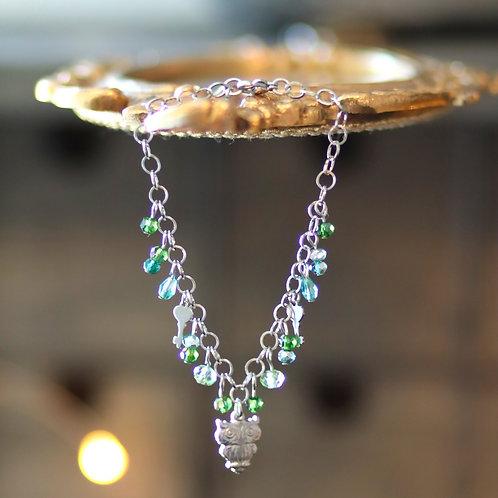 Bracelet hiboux et clefs / vert
