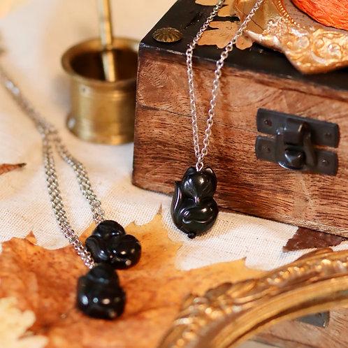 Collier renard obsidienne