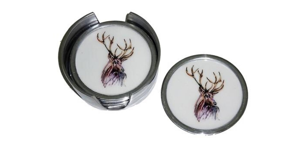 STAG FAIRTRADE RECYCLED ALUMINIUM COASTERS SET OF 6