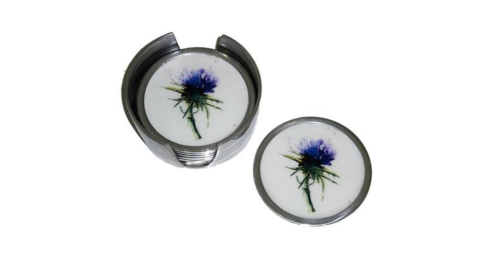 THISTLE FAIRTRADE RECYCLED ALUMINIUM COASTERS SET OF 6