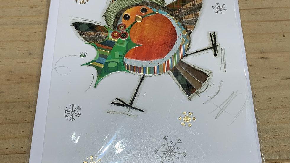 CHRISTMAS ROCKIN  ROBIN  PACK OF 5 CHRISTMAS CARDS