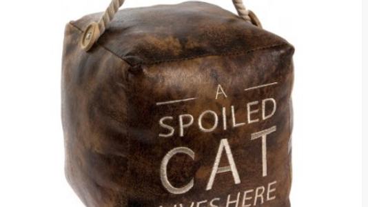 A Spoilt Cat - Square Faux Leather Doorstop