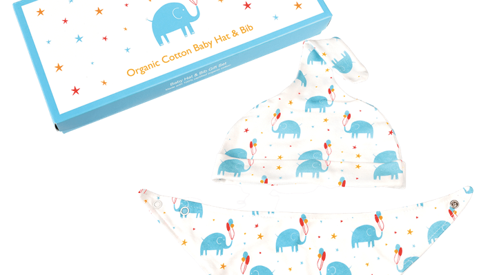ELEPHANT PARTY ORGANIC COTTON BABIES HAT & BIB