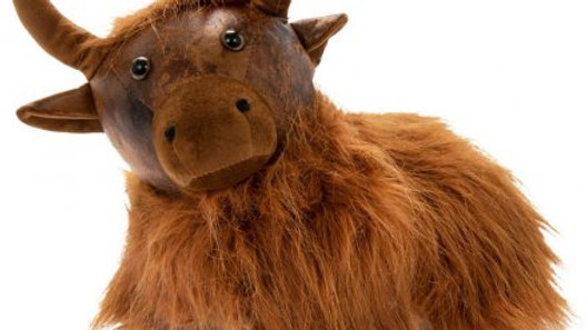 Highland Cow Faux Leather Doorstop