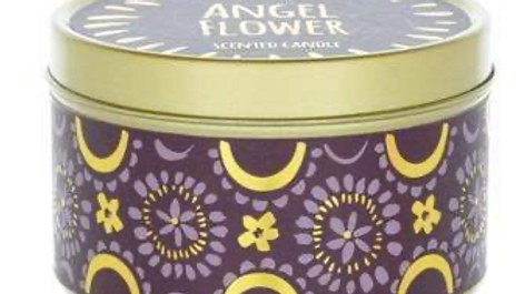 Candlelight Bohemian Large Tin Candle Angel Flower Scen