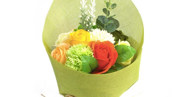 Standing Soap Flower Bouquet - Green Yellow