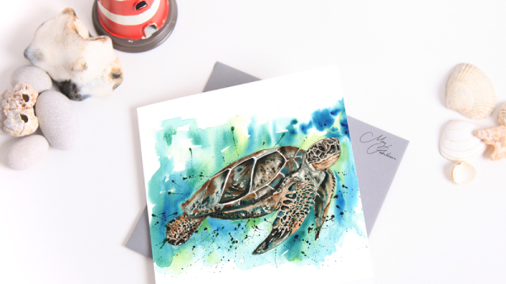 SEA TURTLE WATER COLOUR GREETINGS CARD