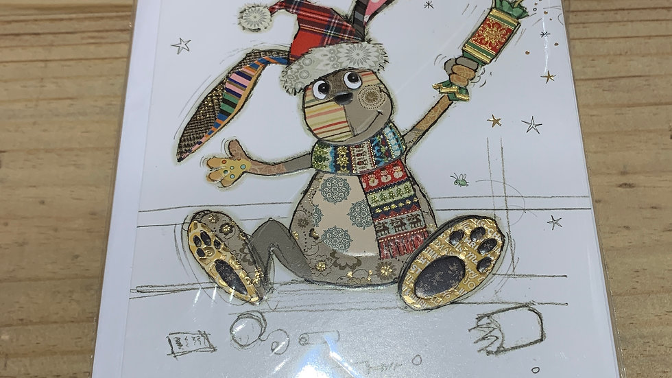 CHRISTMAS CRACKER BUNNY PACK OF 5 CHRISTMAS CARDS