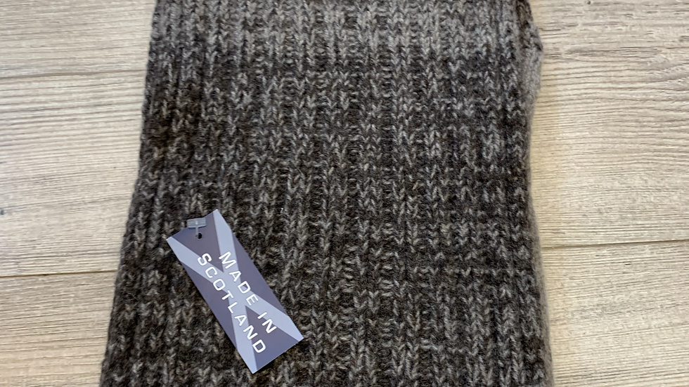 Mens 100% Wool Scarf - MADE IN SCOTLAND - Brown
