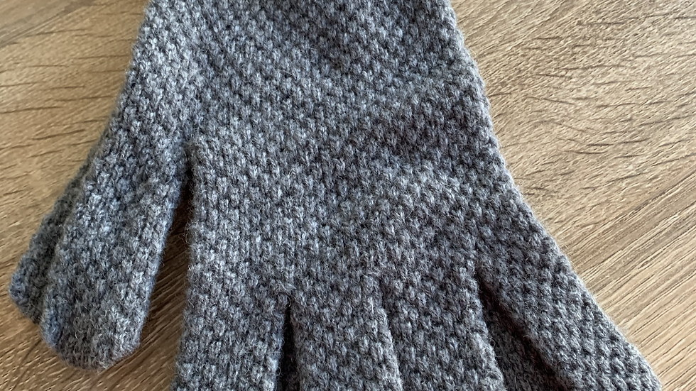 Mens 100% Wool Gloves -  Grey - Made in Scotland