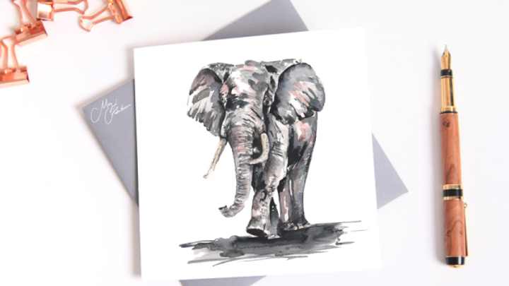 ELEPHANT WATERCOLOUR  GREETINGS CARD