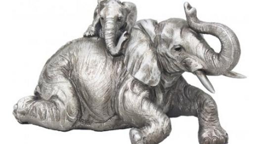 Reflections Silver Elephant & Calf