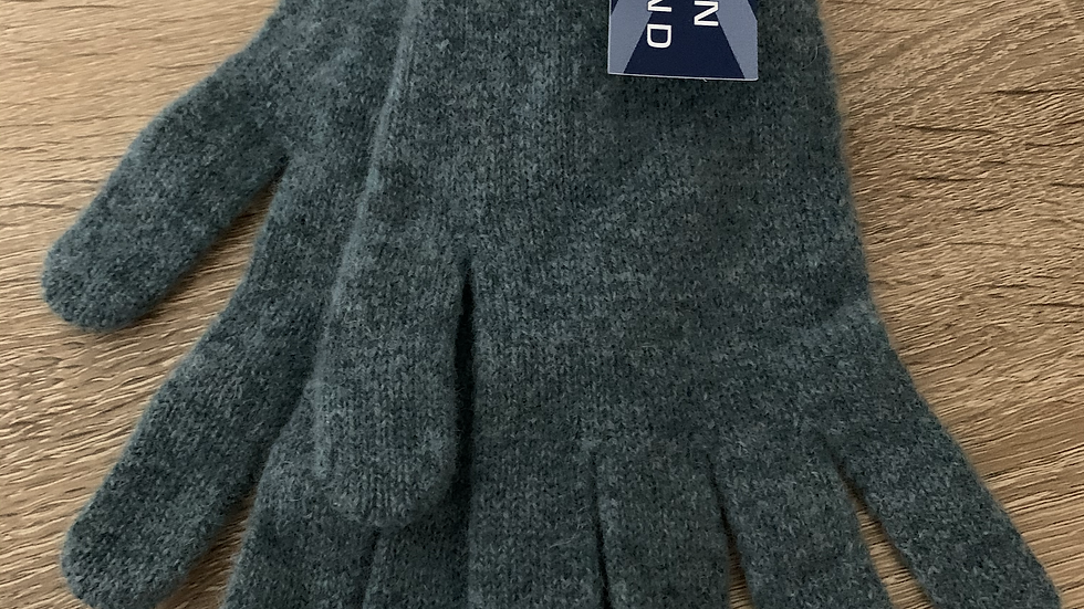 Womens 100% Wool Gloves -  Green - Made in Scotland