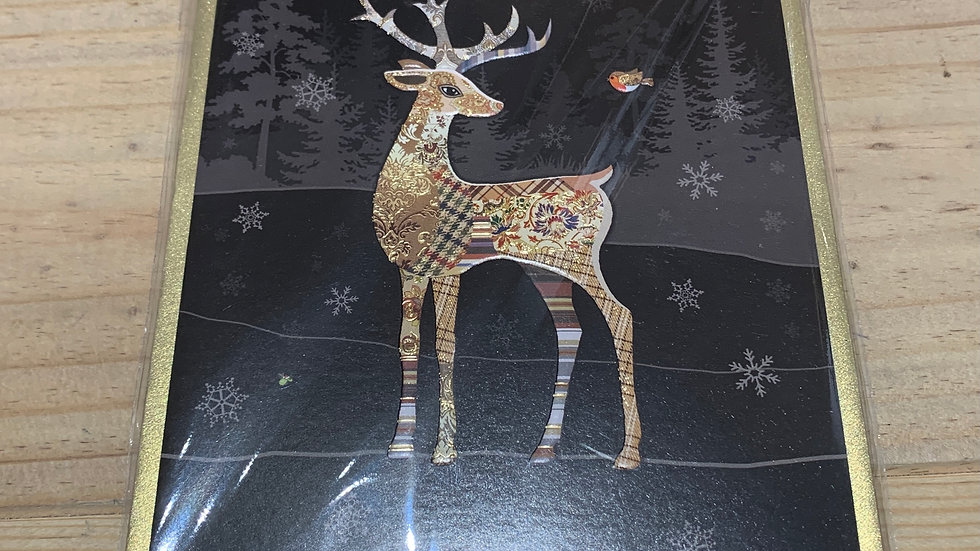 STAG AND ROBIN PACK OF 5 CHRISTMAS CARDS