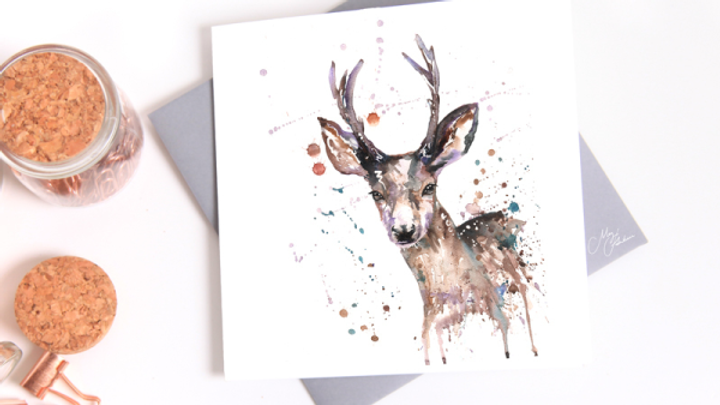 STAG WATER COLOUR GREETINGS CARD