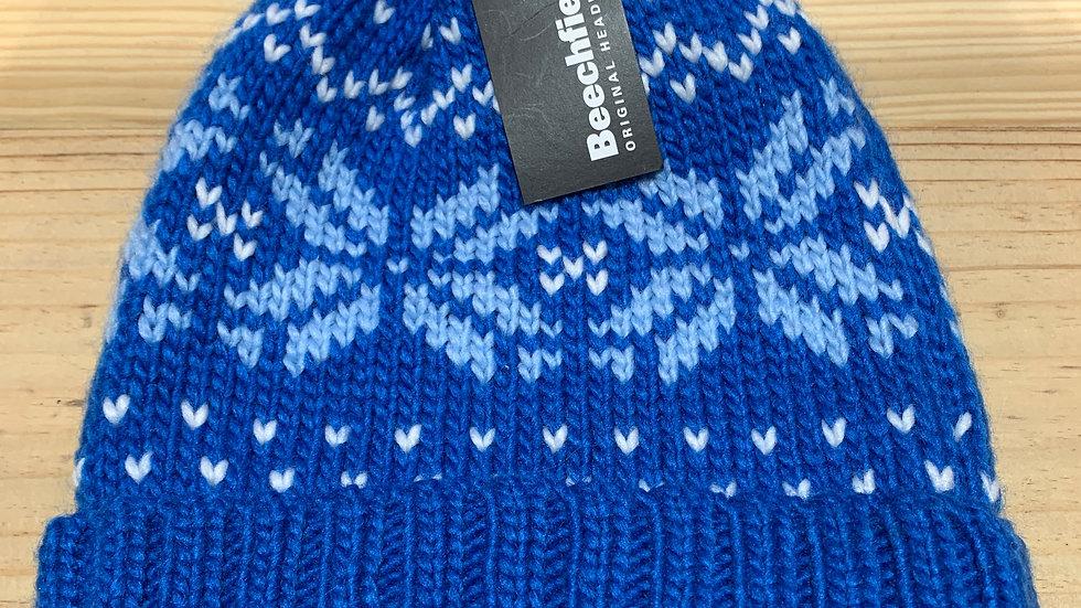 BLUE FAIRILSE KNITTED BOBBLE HAT