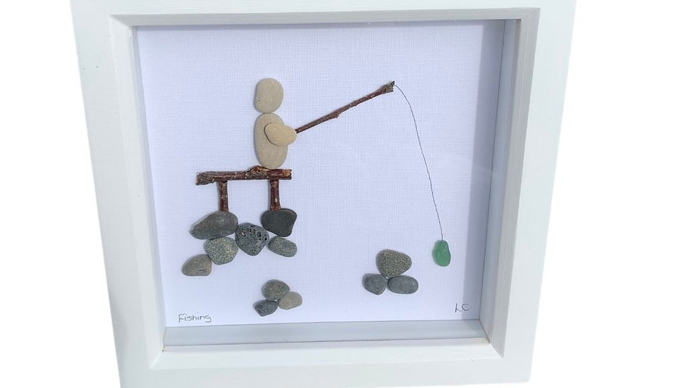 FISHING PEBBLE ART