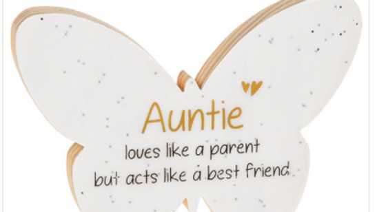 AUNTIE GLITTER WOODEN BUTTERFLY PLAQUE