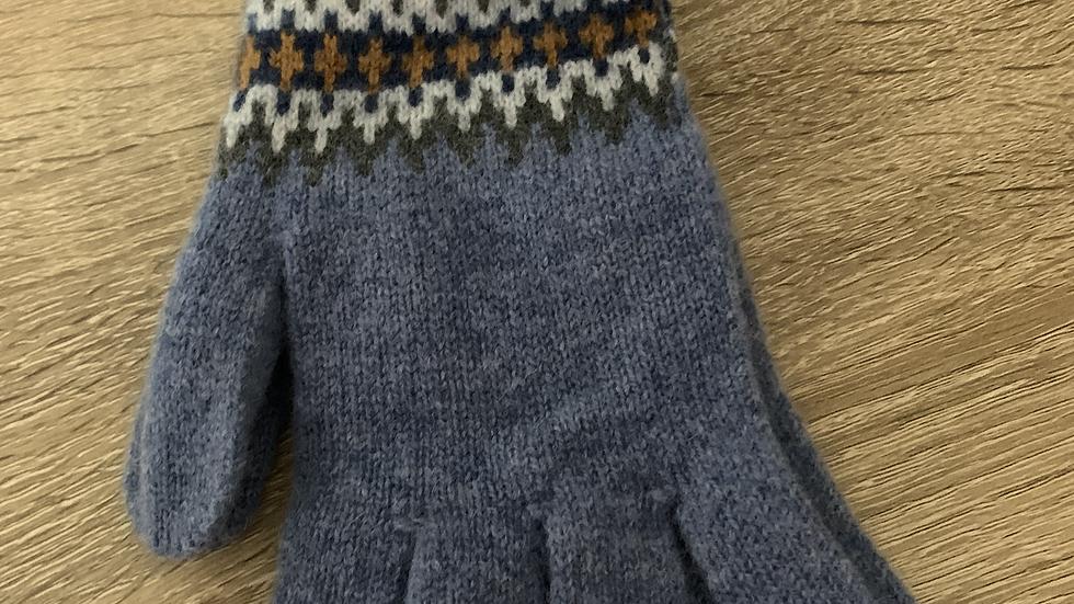 Womens Fairisle Gloves - Blue - Made in Scotland