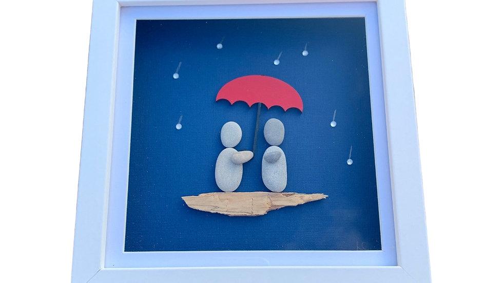 IN THE RAIN PEBBLE ART