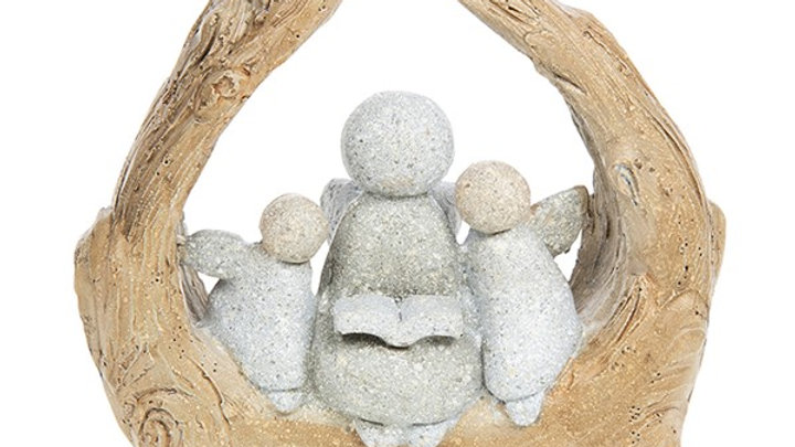 PEBBLE ART ANGEL FAMILY