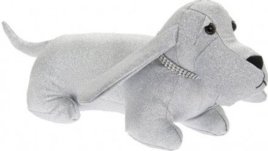 Sparkly Silver Bling Dachshund Doorstop