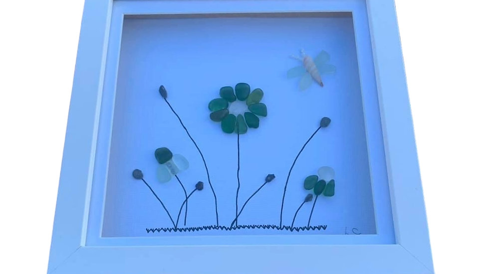 SEAGLASS FLOWERS AND BUTTERFLY