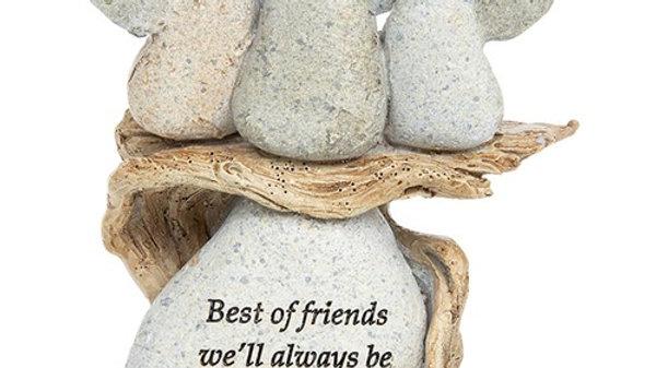 PEBBLE ART ANGEL BEST FRIENDS