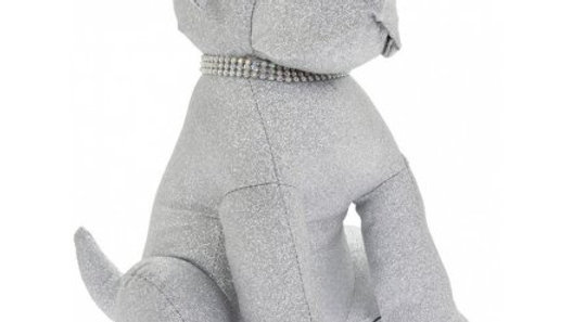 Sparkly Silver Bling Dog Doorstop