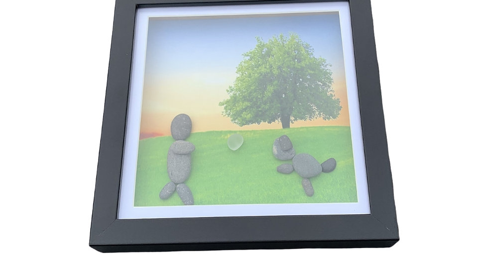 DOG OWNER IN THE PARK PEBBLE ART