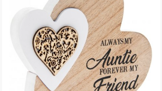 SENTIMENTS DOUBLE HEART SIDE BLOCK -  ALWAYS MY AUNTIE FOREVER MY FRIEND