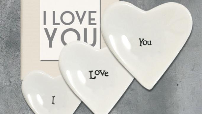 PORCELAIN HEART DISHES SET - I LOVE YOU