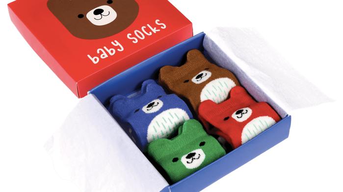 BEAR DESIGN BABY SOCKS/ SET OF 4