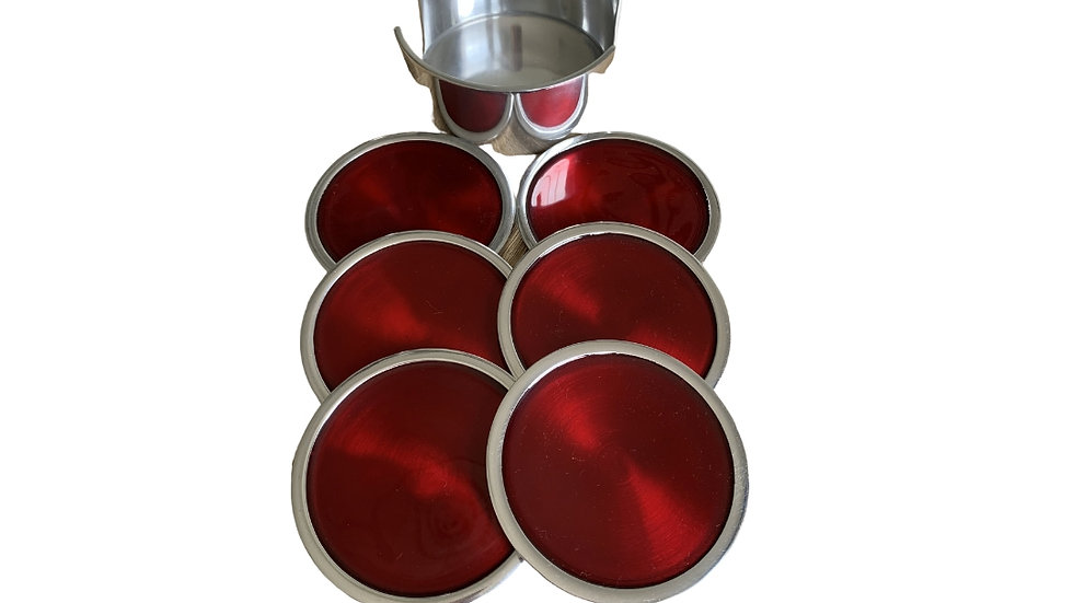 RED COASTER SET OF 6 FAIRTRADE RECYCLED ALUMINIUM
