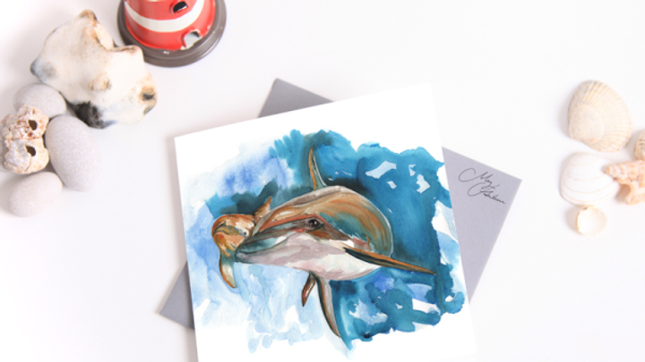 DOLPHIN WATER COLOUR GREETINGS CARD