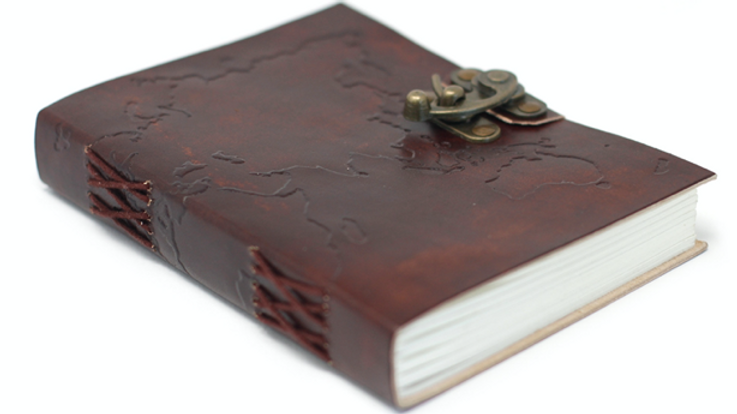 LEATHER WORLD MAP NOTEBOOK