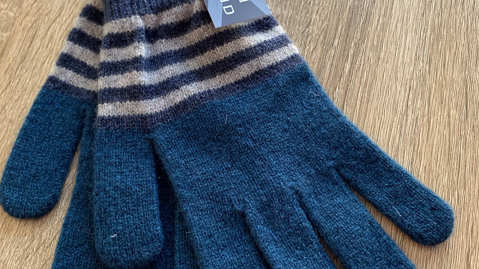 Mens 100% Wool Gloves - Petrol - Made in Scotland