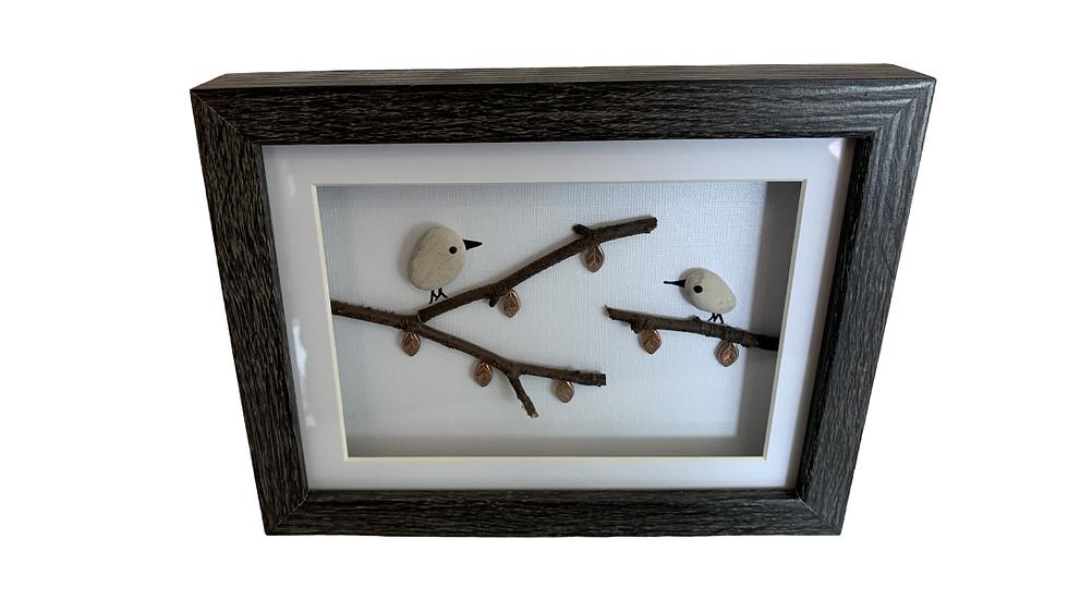 BIRDS ON A BRANCH PEBBLE ART