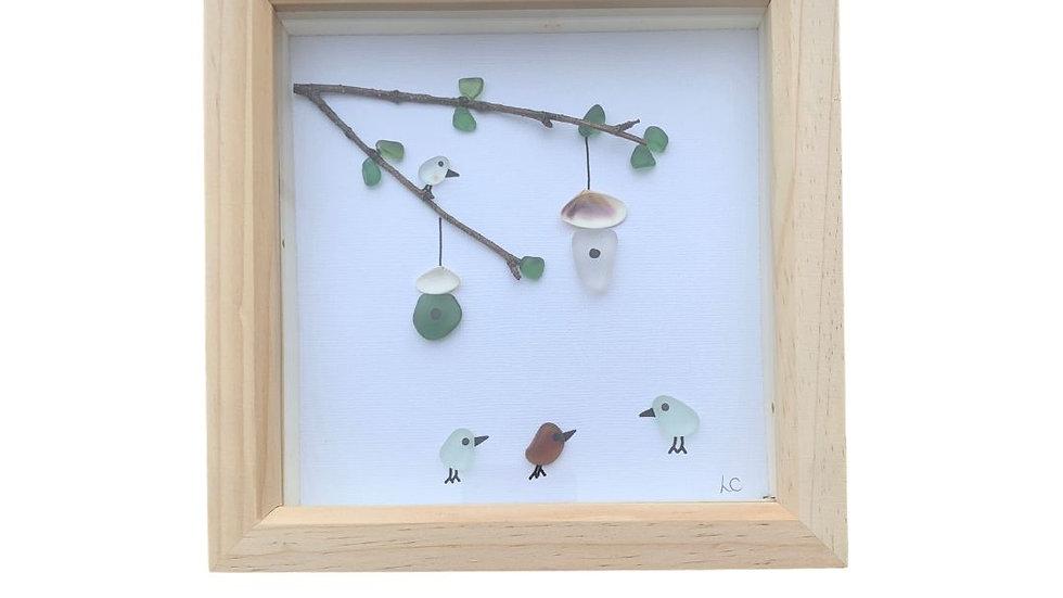 SEAGLASS BIRDS PEBBLE ART