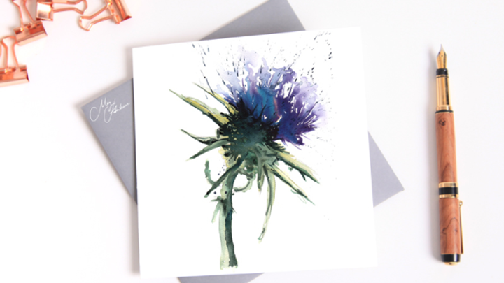 THISTLE WATER COLOUR GREETINGS CARD