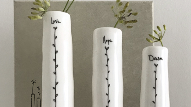 PORCELAIN TRIO OF BUD VASES - LOVE, HOPE, DREAM