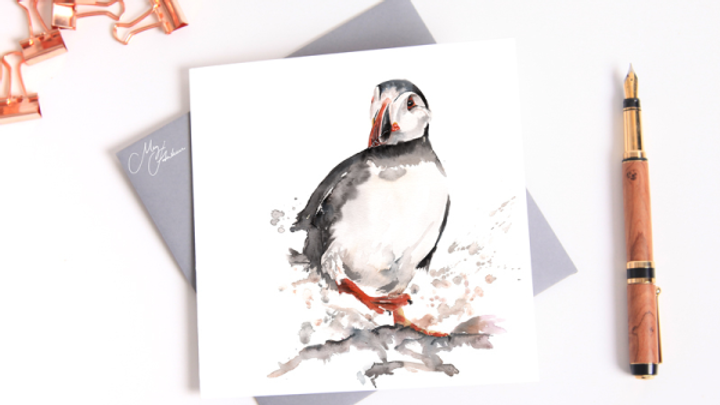 PUFFIN WATER COLOUR GREETINGS CARD