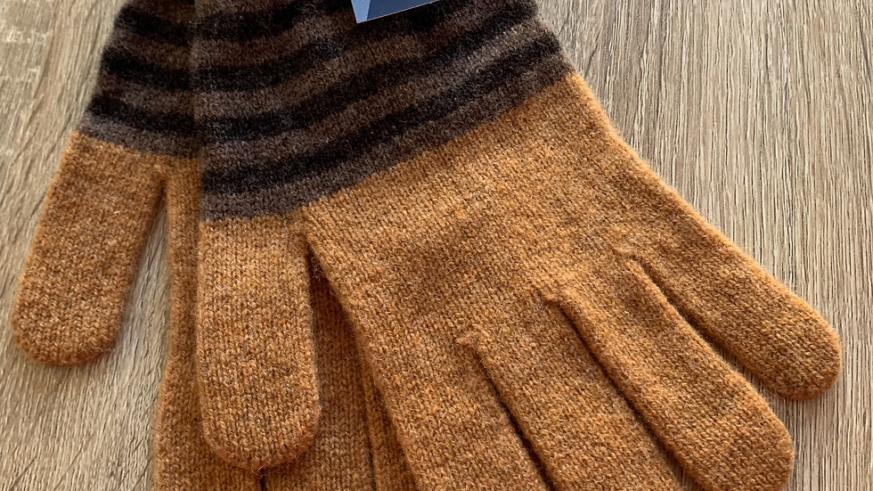 Mens 100% Wool Gloves - Tan - Made in Scotland