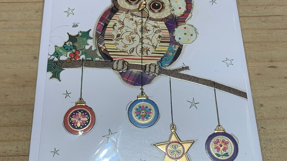 CHRISTMAS OWL  BAUBLE PACK OF 5 CHRISTMAS CARDS
