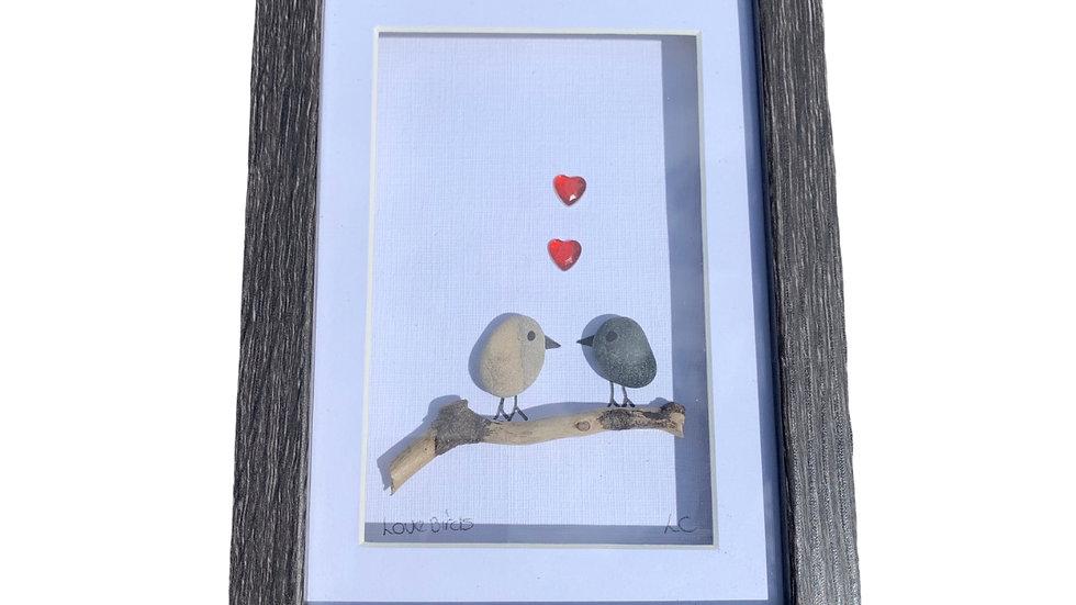 LOVE BIRDS PEBBLE ART