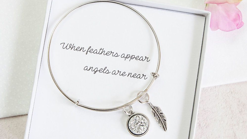 WHEN FEATHERS APPEAR ANGELS ARE NEAR BANGLE