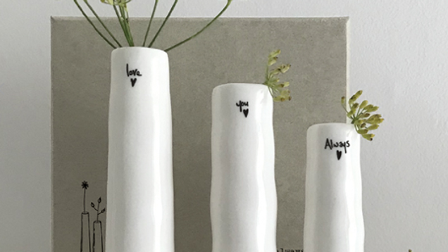 PORCELAIN TRIO OF BUD VASES - LOVE YOU ALWAYS