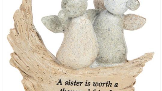 Pebble Art Angel Sister