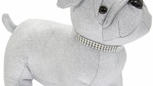 Sparkly Silver Bling Pug Doorstop